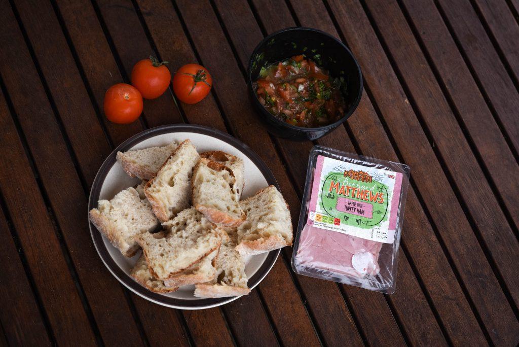 Turkey Ham Bruschetta Ingredients - fiveforafiver