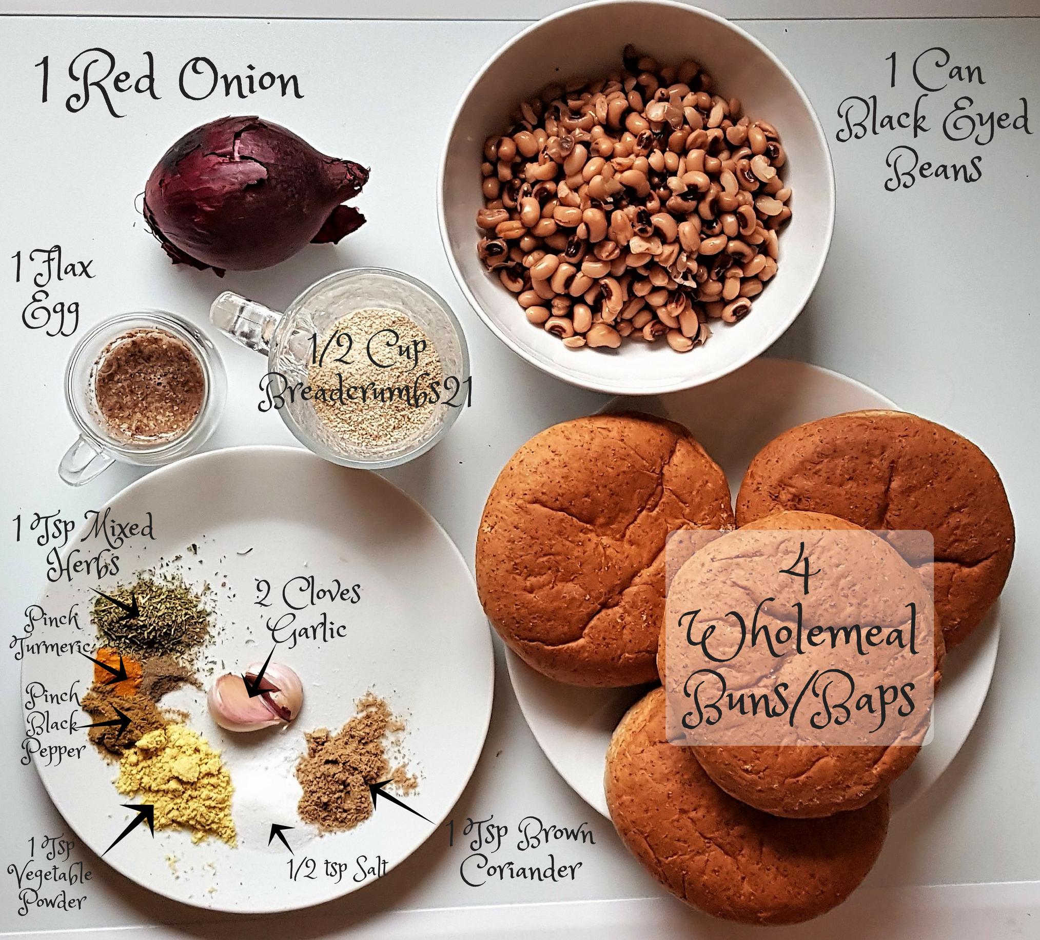 Black eye bean burger - ingredients