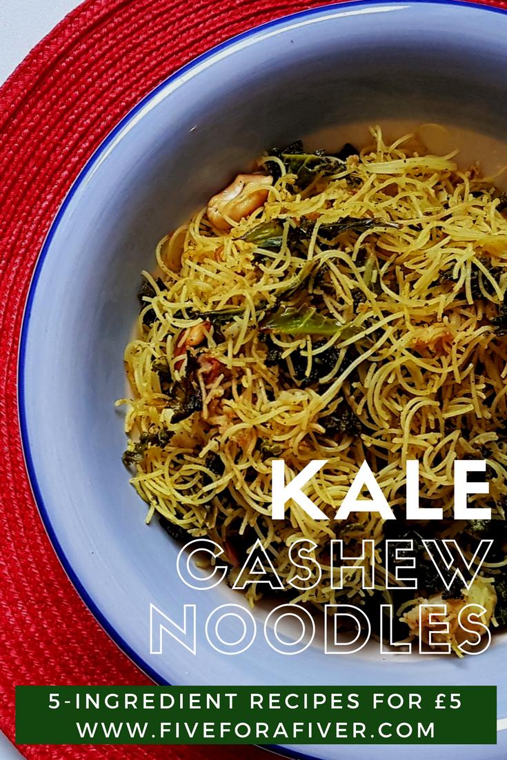 Kale Cashew Noodles - #Vegan #Kale #Cashew #Noodles #Dinner #Asian #Light #Fiveingredients #Fiveforafiver #FiverFoodies #Recipes #HealthyRecipes