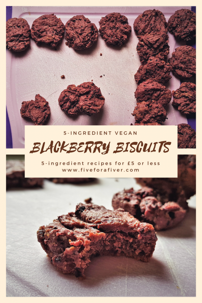 5-ingredient vegan blackberry biscuits - perfect dessert recipe for blackberry season - because the blackberries are free! #summertime #blackberryseason #blackberries #biscuits #dessert #5ingredients #vegan #recipes