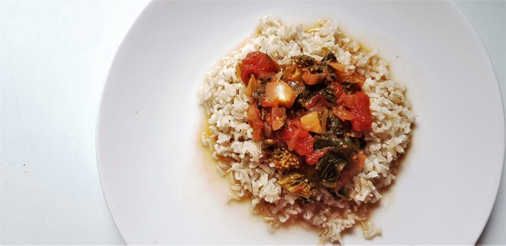 5 ingredient spinach rice recipe - finished dish - fiveforafiver