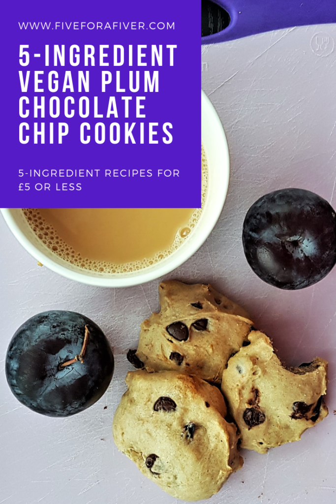 5-ingredient vegan plum chocolate chip cookies - Five for a Fiver #vegan #cookies #fiveingredients #fiverfoodies